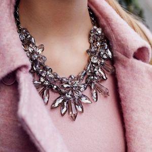 Zara Purple Floral Crystal Statement Necklace